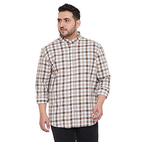 Instafab Plus Men Plus Size Checks Stylish Casual Shirts (4XL) Beige