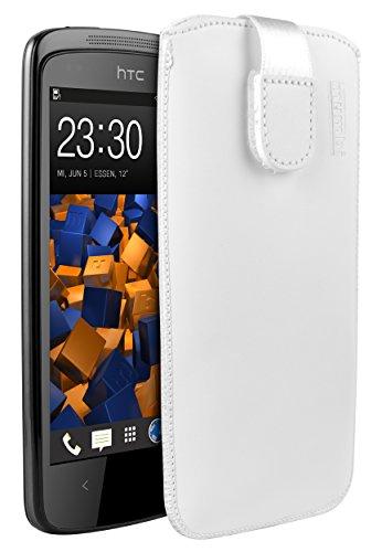 mumbi Echt-Leder Tasche kompatibel mit HTC Desire 500, (Lasche mit Rückzugfunktion, Ausziehhilfe), weiß