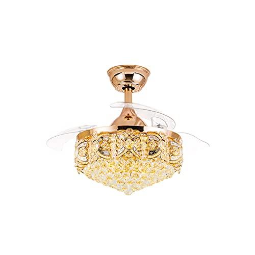 ZLL Lámpara de Ventilador de Desplazamiento LED, Cubierta de la lámpara de Cristal, conversión de frecuencia de Silencio Restaurante Lámpara de Ventilador (Color : Gold)