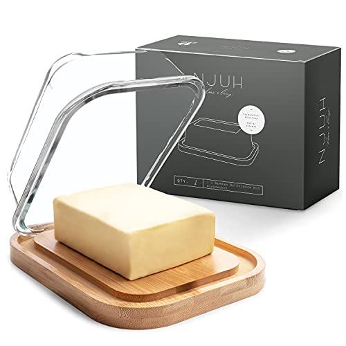 NJUH home x living Beurrier en verre de qualité supérieure - Beurrier en bois de bambou durable - Conservation du beurre écologique - Boîte à beurre certifiée FSC - 640 ml