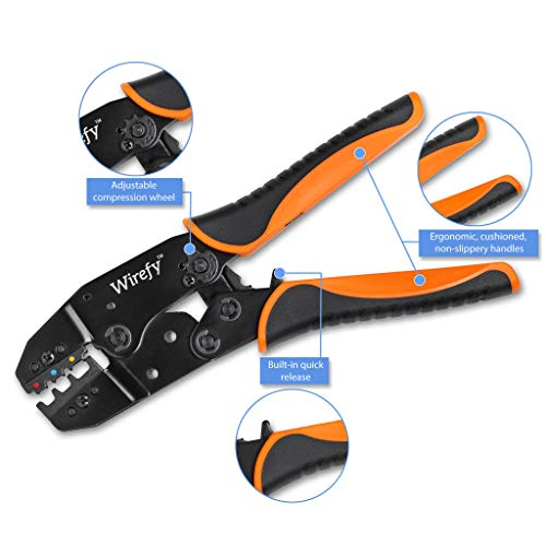 Crimping Tool For Insulated Electrical Connectors - Ratcheting Wire Crimper - Crimping Pliers - Ratchet Terminal Crimper - Wire Crimp Tool by Wirefy