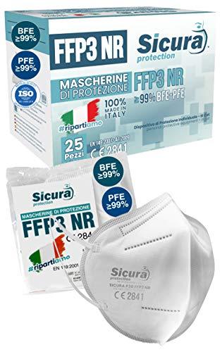 Eurocali 25 Mascherine FFP3 Certificate CE Italia Made in Italy BFE ≥99% | PFE ≥99% Mascherina ffp3 SANIFICATA e sigillata singolarmente. Certificata ISO Medical Produzione 100% Italiane
