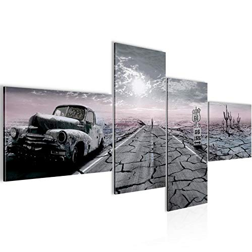 Runa Art Voiture Route 66 Impression Moderne - 100% Made In Germany - Tableau Decoracion Murale États-Unis Noir et Blanc 4 Parties 600342c