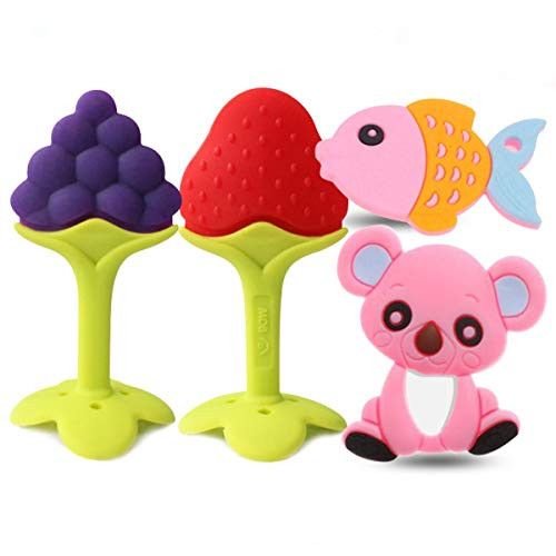O³ Massaggia Gengive per Neonati - Dentizione Neonati Refrigeranti - Dentaruolo | Senza BPA | Set 4 giocattoli: 2 animali + 2 frutti (Bambina)