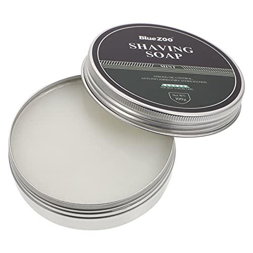 Minkissy Jabón de Afeitar Crema de Afeitar Espuma Densa Jabón de Afeitado 100G Aroma a Menta