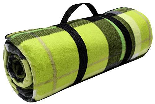 Brandsseller Fleece-Picknickdecke XXL ca. 200 x 200 cm - Unterseite Aluminiumbeschichtet - Kariert/Grün