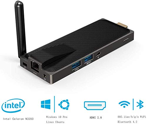 Mini PC Stick Windows 10 Pro 64-bit, AWOW Fanless Computer Stick Intel Celeron N3350 4GB DDR4 64GB eMMC, 4K HD Mini Computer,1000M LAN, Dualband-WLAN, USB 3.0, Bluetooth 4.2