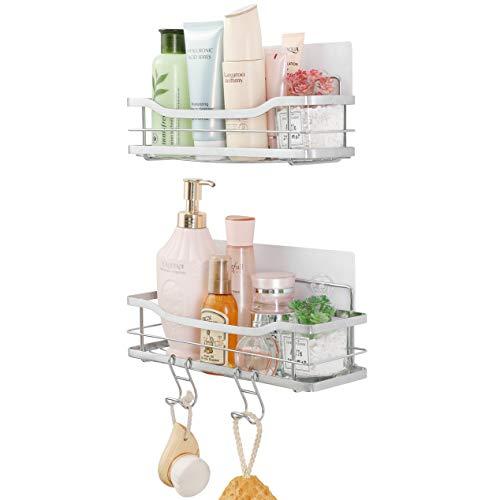 ARNTY Duschablage Ohne Bohren 2 Stück,Edelstahl Badregal Duschregal Ohne Bohren,Shampoo Halterung für Dusche mit 2 Haken für Dusche,Badezimmer (Duschablage B)