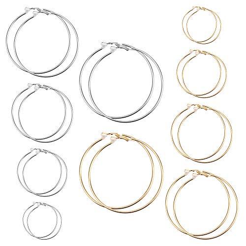 Huayue 10 Paar Ohrclips Creolen Hoop Ohrringe Elegant Clip On Ohrringe Nicht Piercing Ohrringe Set Ohrklemmen Nasenring für Damen und Mädchen, 5 Verschiedene Größen (Gold/Silber)
