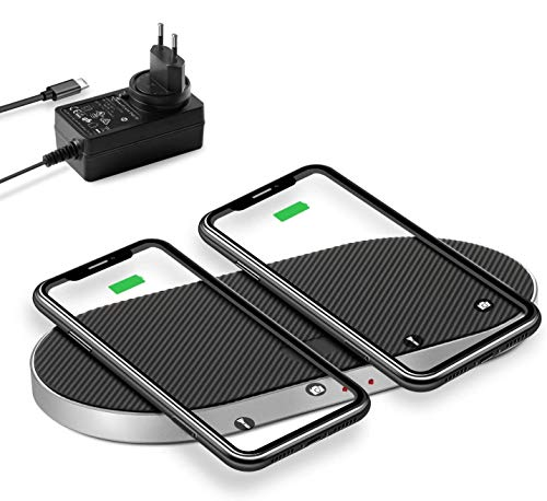 ZealSound Dual Fast Wireless Charger, 5-coil Aluminium oplader voor 36 W adapter voor iPhone 11/11 Pro / 11 / iPhone X, 10W voor Galaxy Note 10 / S10 / Note 9 / S9 / S8, AirPods 2 / AirPods Pro