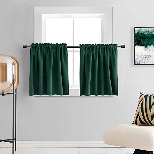 DONREN Hunter Green Curtain Tiers for Small Window - Mini Blackout Camper Curtains for Bedroom with Rod Pocket (42 Inch x 24 Inch,2 Panels)