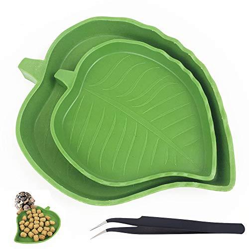 Paquete de 2 cuencos de alimentación de reptiles, cuencos de agua para alimentos de reptiles con pinzas, plato de alimentación de reptiles para tortuga, geco, serpiente, bandeja de cría de mascotas