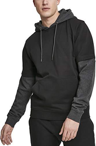 Urban Classics Double Layer Hoody Sweat-Shirt À Capuche, Multicolore (Blk/Cha 00445), 5XL Homme