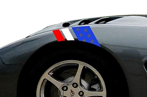 USA Flag w/Stars Fender Hash Mark Bars Vinyl Graphic Decal Racing Stripes, Fits Corvette C5, Both Sides, Red White & Blue