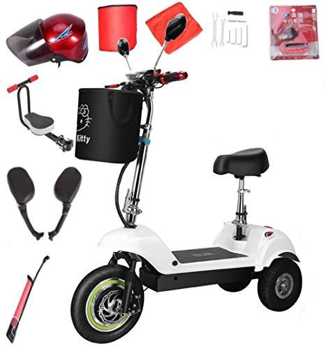 CYGGL Veicolo Elettrico a Tre Ruote Adatto per Anziani, Bicicletta elettrica Mini Bambino Pieghevole per Auto Batteria 350W-velocità 30 km/h carico 110 kg