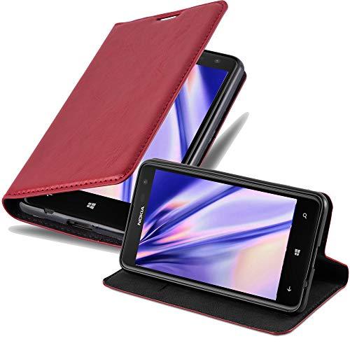 Cadorabo Hülle für Nokia Lumia 625 - Hülle in Apfel ROT – Handyhülle mit Magnetverschluss, Standfunktion & Kartenfach - Hülle Cover Schutzhülle Etui Tasche Book Klapp Style