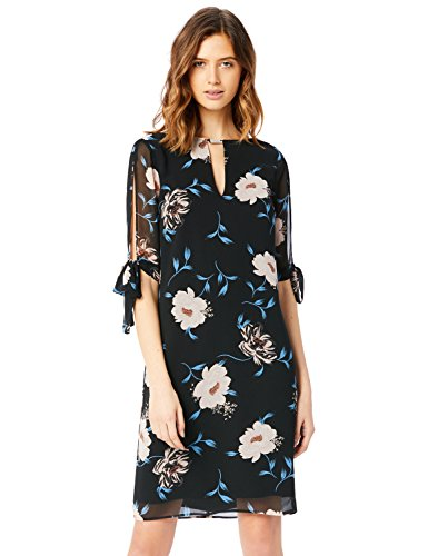 Amazon-Marke: TRUTH & FABLE Damen Chiffon-Kleid mit A-Linie, Mehrfarbig (Print), 34, Label:XS