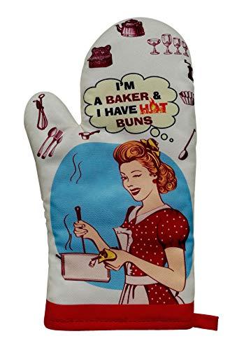 Oven Mitt Vintage Design, Heat Resistant Oven Glove, 5.5 x 12 inch (Cream-HotBaker)