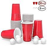 Ohuhu Gobelet Rouge Americain, gobelets américains en Plastique jetables, gobelet en Plastique de bière-Pong 50pcs avec 6 bières de Pong réglées pour la fête de Vacances de Noël 16oz / 473ML