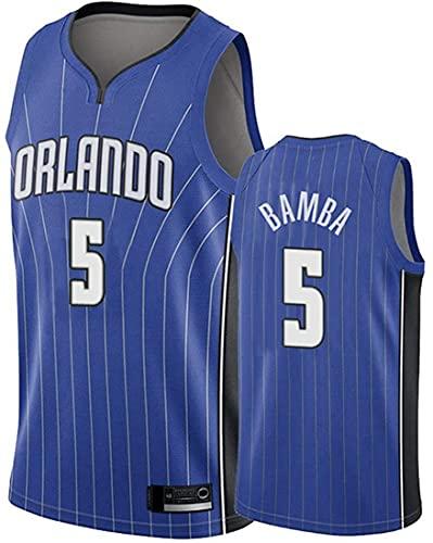 XSJY Jersey De Baloncesto De Los Hombres De La NBA - Orlando Magic # 5 MO Bamba Gimnasio Retro Transpirable Quick-Secking Chaleco Deportivo Tops,B,S:165~170cm/50~65kg