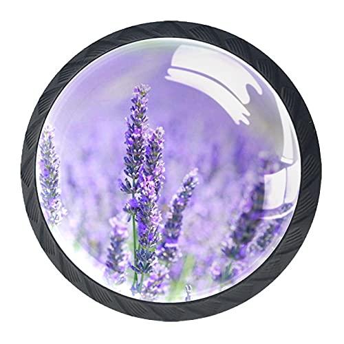 Pomos redondos para cajones de cocina, 4 unidades, diseño de flores, color morado malva, color morado