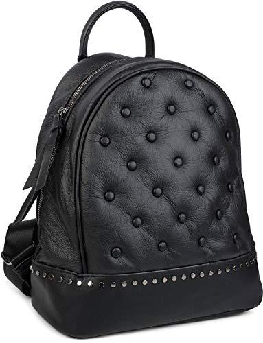 styleBREAKER Mochila de Mujer, Bolso de Mano con Remaches en Estilo Chesterfield, Cremallera, Bolso 02012266, Color:Negro