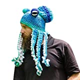 Yutone Adult Octopus Tentacle Hat, Hand-Woven Knitted Octopus Hat for Christmas Halloween Cosplay, Unique Soft and Warm, Blue