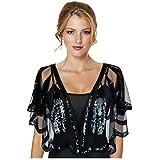 Keland - Camisa de mujer con lentejuelas brillantes para noche, chal de noche, camisa, bufanda, fiesta de boda Negro A-negro Taille unique