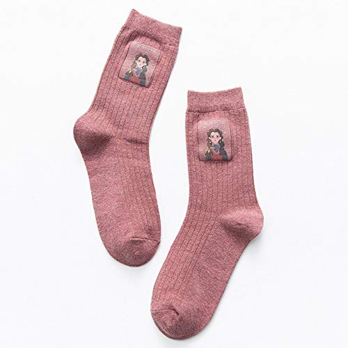 Cotton Women Long Socks  Autumn Breathable Deodorant Winter New Cute Cartoon Fashion Brief Wild Trend Motion Socks Women - -3 Pink,One Size
