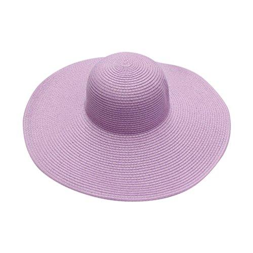 Yuncai Damen Mode Gewellte Kante Strand Hüte Sommer Draussen Sonnenschutz Strohhut Sonnenhut Violett