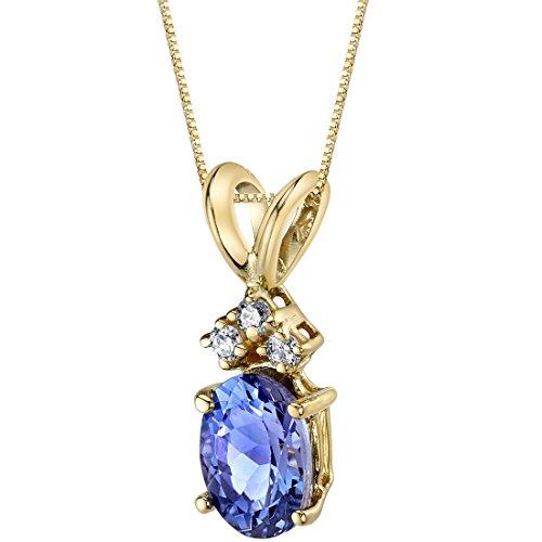 Peora Tanzanite with Genuine Diamonds Pendant in 14 Karat Yellow Gold, Dainty Solitaire, Oval Shape, 7x5mm