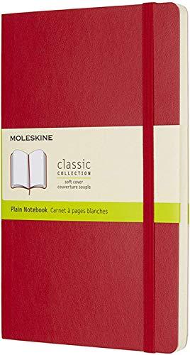 Moleskine - Cuaderno Clásico con Páginas Lisas, Tapa Blanda y Goma Elástica, Rojo (Red), Tamaño Grande, 192 Páginas