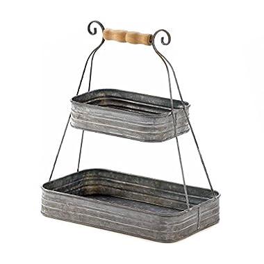 Smart Living Company 2 Fruit Rustic Tin Storage Organizer Bedroom 2-Tier Hanging Basket 2 2