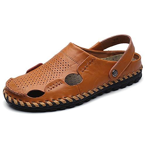 kengbi Sandalias de Hombre Deportes de Verano al Aire lib Sandalias de Moda para Hombre Casual Verano Nueva Respirable Mano Costura Zapatillas perezosas (Color : Brown, Size : 39 EU)