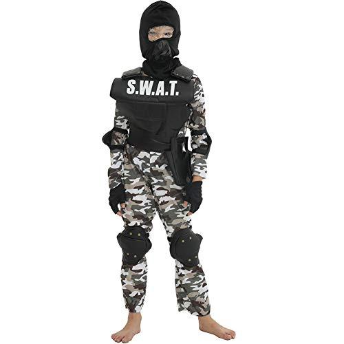 Uniforme de la policía del Traje de Swat niños Traje determinada del Rendimiento de la Escuela Cosplay Camuflaje Mascarada Especial Soldado,Negro,S