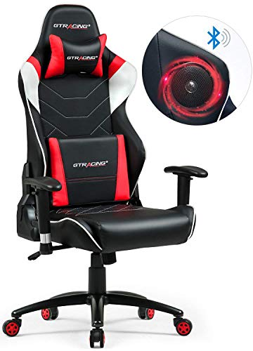 GTRACING Gaming Chair with Speakers Bluetooth Music Video Game Chair Audio Heavy Duty Computer Desk Chair PC Racing Executive Ergonomic Adjustable Swivel Task Chair w/Headrest (Red-2)