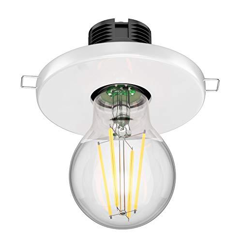 ledscom.de Lámpara de techo empotrada de porcelana E27 TELA, redonda, blanca, 99mm + lámpara LED blanco cálido, A++, regulación de 3 pasos sin regulador con interruptor de luz:max. 800lm