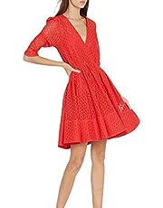 AUED Falda de Patinaje Primavera y Verano Nuevo Vestido de Encaje con Cuello en V para Mujer Falda de Skate Corta Falda elástica Competencia de Baile de Ballet Suelto,Rojo,L