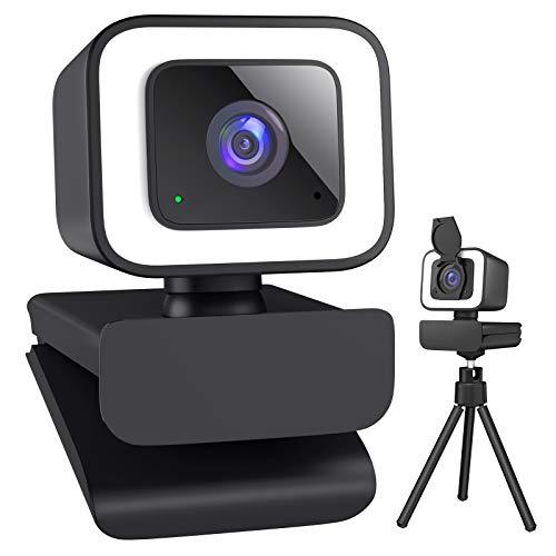 Cámara web 1080P con anillo de luz y micrófono 1080P Webcam para PC, cubierta de protección de datos, soporte de trípode, enfoque fijo, cámara web para Zoom, Skype, PC, Mac, ordenador de sobremesa