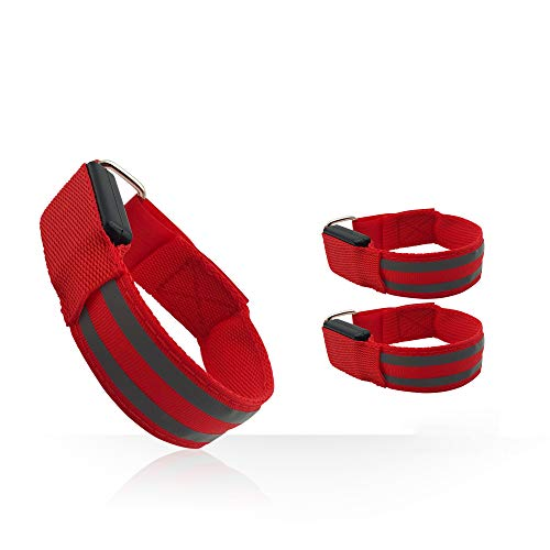 2 Pack LED Armband for Running Cycling Exercising Glow Light up in Dark Night Running Gear Safety Reflective Sports Event Wristbands with USB Charging Cord (Red)