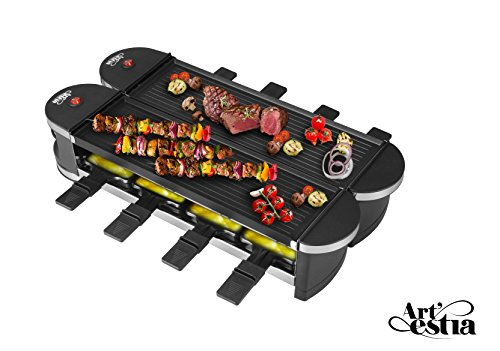 Artestia Electric Dual Raclette Grill with Cast Aluminum Reversible Grill Plate, Easy Setup in 360° Rotation, Serve the whole family (Reversible Aluminum Grill Plate)