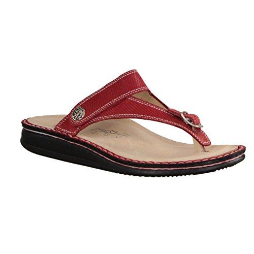 Finn Comfort Alexandria - Damenschuhe Pantolette / Zehentrenner, Rot,