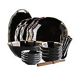 Set di Piatti da 18 Pezzi per 4 Persone Piatti Piani in Ceramica di Fascia Alta per Uso Domestico Decorare Il Cibo per Migliorare L'atmosfera Romantica (Color : Black, Size : 18-Piece Set)