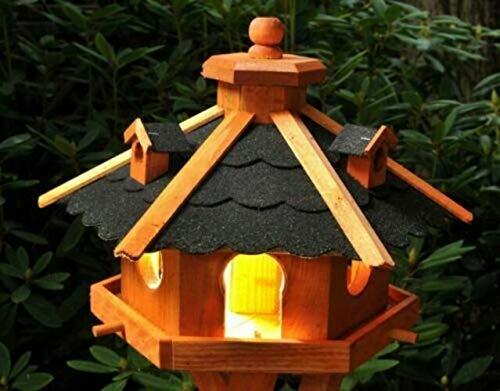 DEKO VERTRIEB BAYERN XXL Premium - Luxus Vogelhaus mit/ohne Solar/mit/ohne Ständer Holz Futterhaus Vogelfutterhaus Vogelvilla Modell 2020, Dunkel + Solar