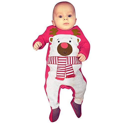 Mbby Pagliaccetto Neonato Natale, 3-24 Mesi Unisex Pagliaccetti Cervo Stampa Pigiama Manica Lunga Caldo Addensare Tutina Fumetto Outfits per Ragazze E Ragazzi Inverno Autunno