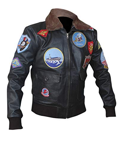 Flesh & Hide F&H Men\'s Top Gun Pete Maverick Tom Cruise Genuine Leather Bomber Jacket L Black