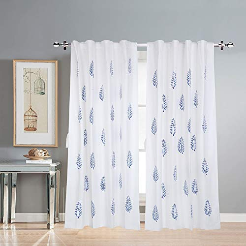 LINENWALAS Cotton Curtains for Doors 7 Feet Set of 2, Linen Textured Doors Curtains for Home Decor, Hangs Elegantly with Back Loops (4.5ft x 7ft, Blue Leaf)