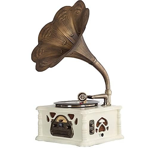 KOSHSH Gramófono Función Retro Bluetooth, Tocadiscos Vintage Vinilo subwoofer Incorporado, Tocadiscos Radio, CD, USB, MP3, 3 velocidades