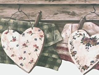 Country Clothesline with Hearts Wallpaper Border