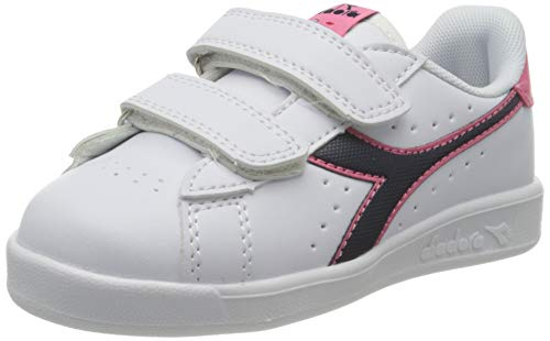 Diadora Game P TD, Chaussures de Fitness Garçon Mixte Enfant, Blanc (White/Black Iris/Pink Passion C8593), 22 EU